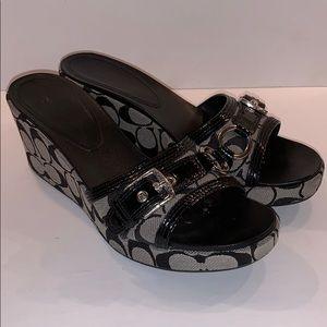 COACH Jewel 10 b black wedge slide sandals